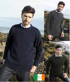 Pullover Irlandais Homme, Col rond, 100% Laine Donegal