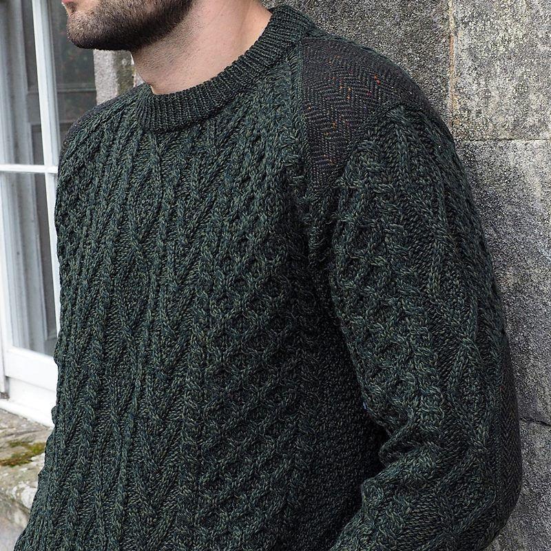 pull homme irlandais laine m rinos et tweed donegal sur paules et coudes. Black Bedroom Furniture Sets. Home Design Ideas