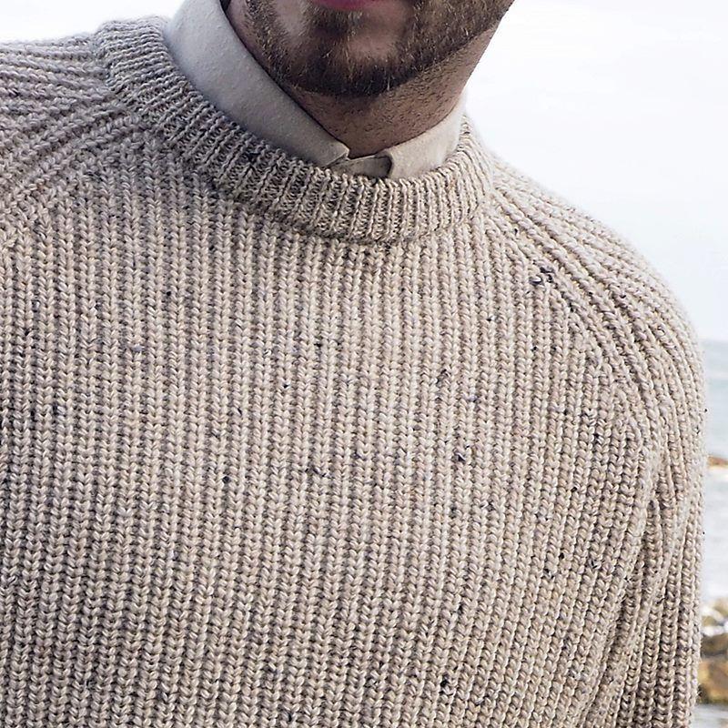 Pullover homme ras de cou, Pull Irlandais traditionnel, Pure Laine Vierge