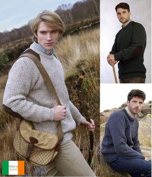 Chandail Irlandais Homme, Pure Laine Vierge, Patchs sur coudes et épaules