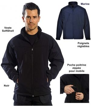 Veste SoftShell contemporaine, Confortable, extensible et imper-respirante
