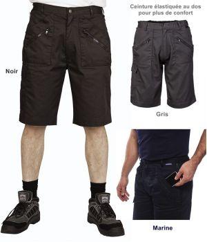 Bermuda Action, Short, Poches zippées, Taille élastiquée au dos