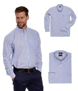 Chemise Bleue Homme Oxford, Polyester Coton, Manches Longues