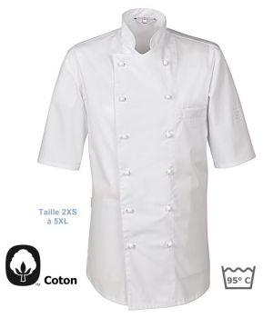 Veste de Cuisine Blanche, Manches Courtes, 100% Coton, Poche poitrine