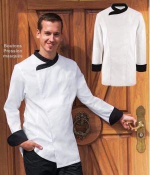 Veste de Cuisine, Blanche avec Garniture contrastante noire, Pression