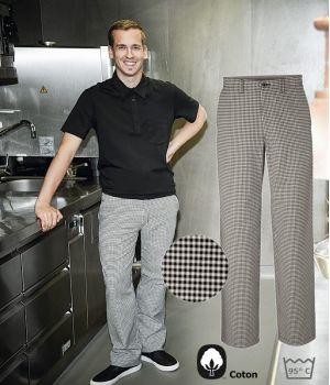 Pantalon de Cuisine, Pepita Blanc et Noir, Coton, Lavable à 95°C