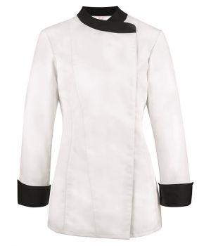 Veste de Cuisine Femme, Blanc avec Garniture noire, Pressions masquées