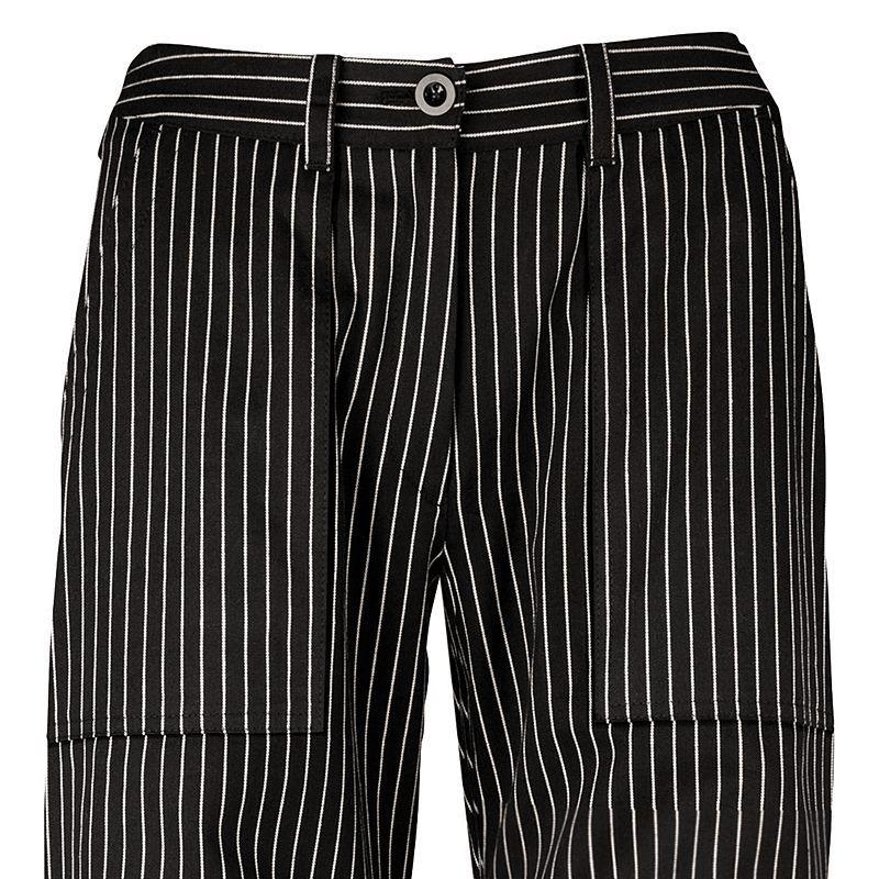pantalon de cuisine femme rayures noir et blanc coton pouvant bouillir. Black Bedroom Furniture Sets. Home Design Ideas