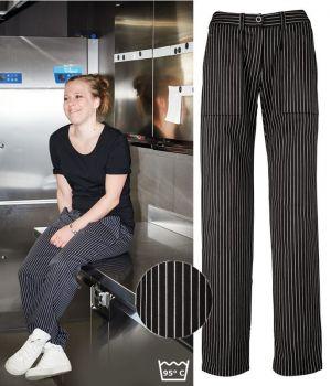 Pantalon de Cuisine Femme, Rayures Noir et Blanc, Coton pouvant bouillir