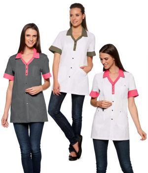Tunique de travail femme, Manches courtes revers de couleur, Col contrasté