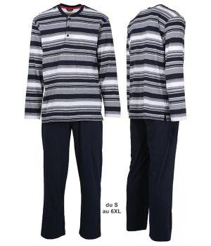 Pyjama, Haut à rayures Gris, Blanc, Marine, Pantalon Marine, Confortable