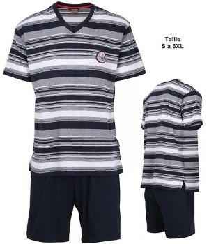 Pyjama, Haut à rayures Gris, Blanc, Marine, Short Marine, Confortable