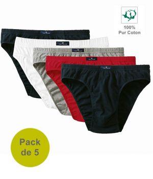 Slip Homme Coton, Marine, Blanc, Gris, Rouge, Coton Doux, Pack de 5