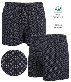 Short Boxer, 100% Coton, Tissu imprimé, Coupe confortable