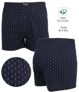 Short Boxer, 100% Coton, Tissu imprimé, Coupe confortable, Marine