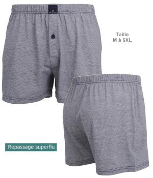 Short Boxer, Coupe confortable, Gris, Coton et Polyester