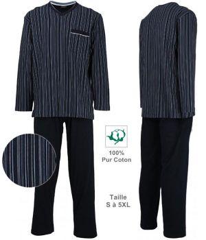 Pyjama Tendance, Haut à rayures, Pantalon Marine uni, Pur Coton Jersey