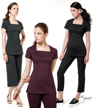 Tunique esthéticienne manches courtes, Coupe cintrée, bi-stretch confort, col carré