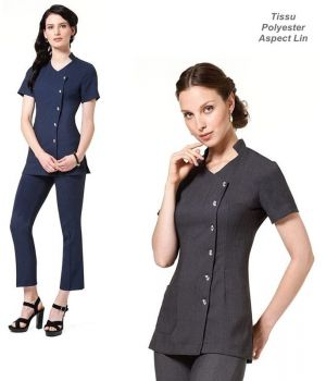 Tunique Blouse esthétique, Boutons diamant sur le devant ,100% polyester aspect Lin