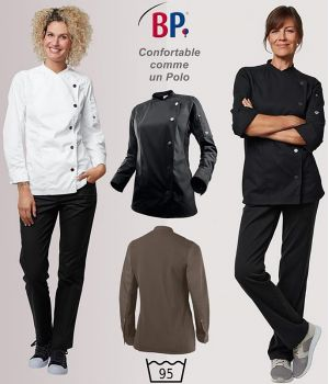 Veste de Cuisine Femme, Col officier, Port Confortable, Modern fit