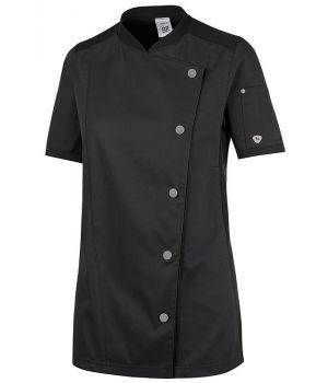 Veste de Cuisine Femme, Manches Courtes Noire, Taille XS.