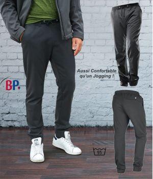 Pantalon Anthracite Super Confort Homme, Bi-Stretch, Taille élastiquée en Tricot