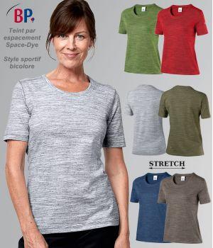 T-shirt femme, Manche 1/2, Col Rond, Space-Dye style Sportif Bicolore