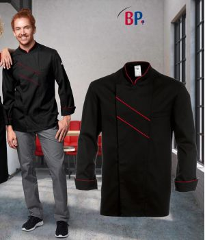 Veste de cuisine grand Chef, Noir avec passepoil et rayures Rouge