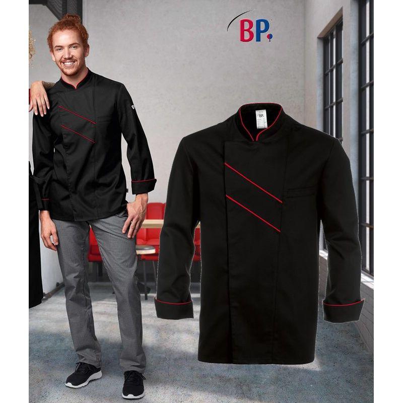 Veste de cuisine grand Chef, Noir avec passepoil et rayures Rouge dad86c77bbda