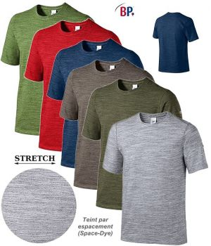 T-shirt Femme et Homme, Teinture Space Dye Style Sport, Confort Stretch
