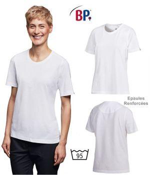 T-shirt femme, blanc, manches courtes, Epaules renforcées, Peut bouillir