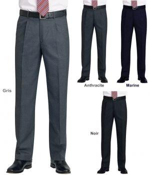 Pantalon Homme, A Pinces, 1 Poche Arrière, Entretien Facile