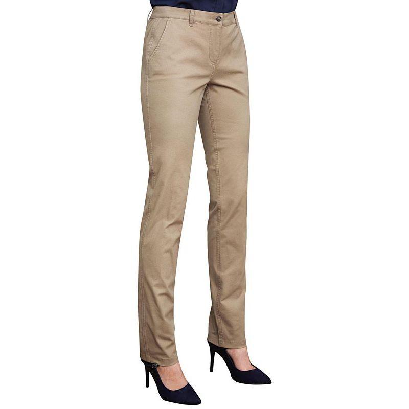 Pantalon Chino Femme, Coupe Slim, Ceinture Extensible, Poches