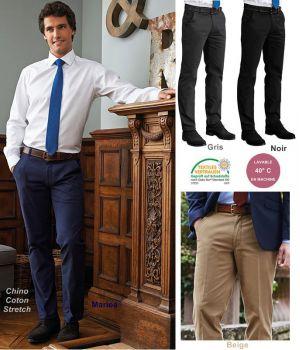Pantalon Chino Homme, Coupe Slim, Sans pinces, Ceinture Extensible