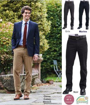 Pantalon Chino Homme, Coupe classique, Ceinture Extensible