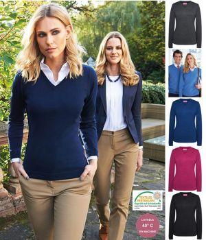 Pullover Femme, Col en V, Col côtelé, Coton et acrylique