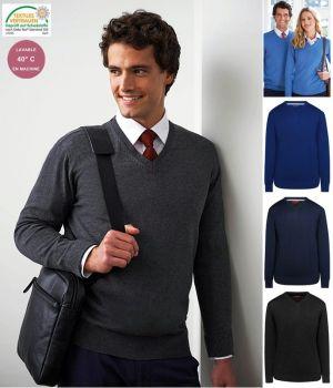 Pullover Homme, Col en V, Col et bordures côtelées, Coton et acrylique