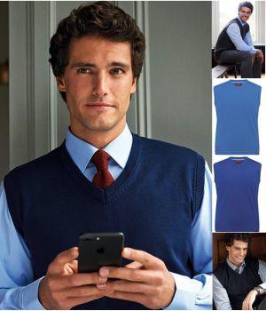 Pullover Homme sans manches, Col en V, Col et bordures côtelées