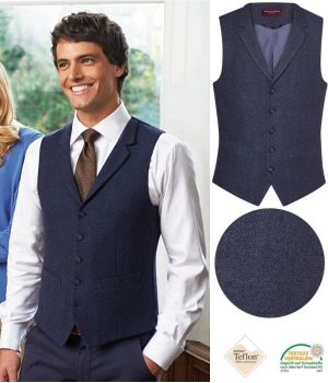 Gilet Tweed Homme, 5 boutons, Poches Passepoilées, Marine à chevrons