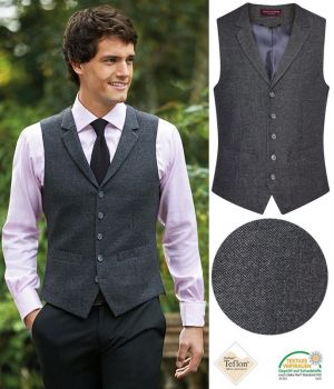 Gilet Tweed Homme, 5 boutons, Poches Passepoilées, Anthracite à chevrons