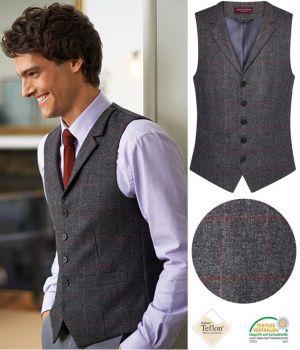 Gilet Tweed Homme, Poches Passepoilées, Anthracite et Rose à carreau