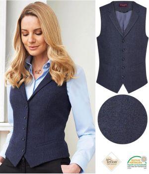Gilet Tweed Femme, 2 poches avant passepoilées, Marine à chevrons