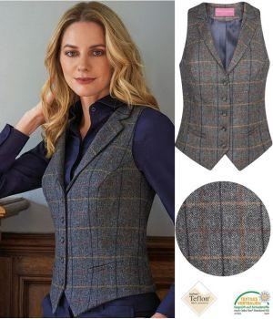 Gilet Tweed Femme, poches avant passepoilées, Gris et Marron à carreau