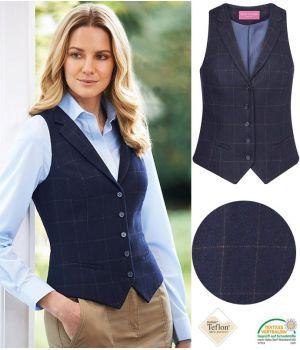 Gilet Tweed Femme, 2 poches avant passepoilées, Marine à carreau