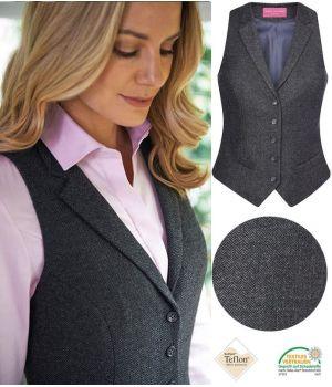 Gilet Tweed Femme, 2 poches avant passepoilées, Anthracite à chevrons