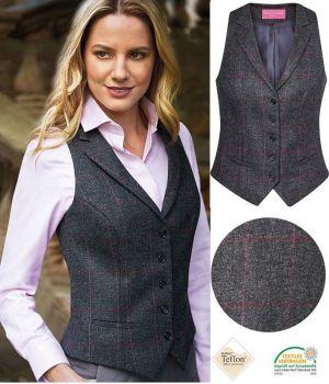 Gilet Tweed Femme, poches avant passepoilées, Anthracite et Rose à carreau