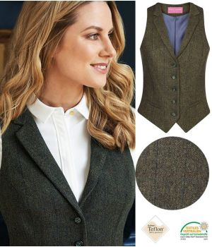 Gilet Tweed Femme, Poches avant passepoilées, Vert et bleu à carreau