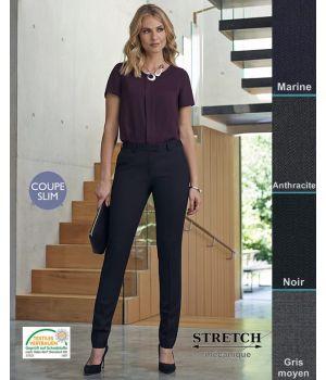 Pantalon Femme, Coupe slim, 2 poches avant, Polyester et Laine