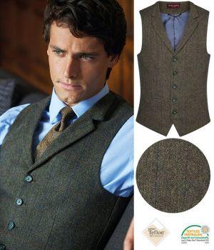 Gilet Tweed Homme, Poches Passepoilées, Vert et Bleu à carreau