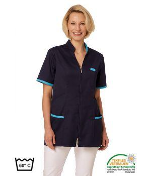 Blouse Médicale Femme, Manches Courtes, Bleu Marine et turquoise